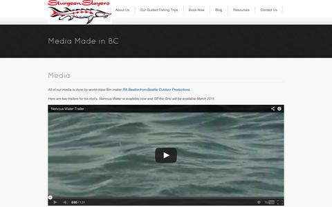 Screenshot of Press Page sturgeonslayers.com - Media | Sturgeon Slayers Guided Sturgeon and Fly Fishing in British Columbia, Canada - captured Oct. 9, 2014