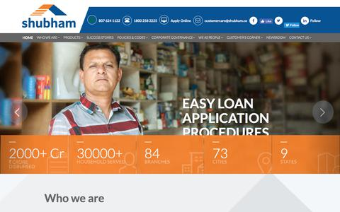 Screenshot of Home Page shubham.co - Shubham Housing Finance| Home Loans | Home Improvement Loans For Informal Income - captured July 8, 2019