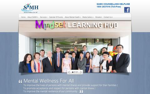 Screenshot of Home Page samhealth.org.sg - Singapore Association for Mental Health | - captured Oct. 27, 2017