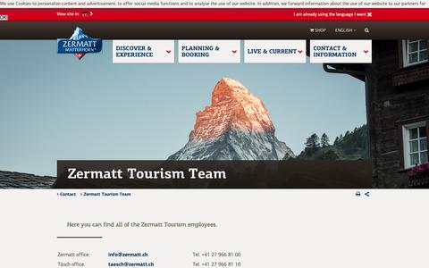Screenshot of Team Page zermatt.ch - Contacts at Zermatt Tourism - captured Sept. 27, 2018