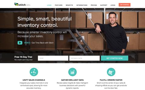 Screenshot of Home Page stitchlabs.com - Increase Inventory Control with Stitch | Stitch Labs - captured Sept. 17, 2014