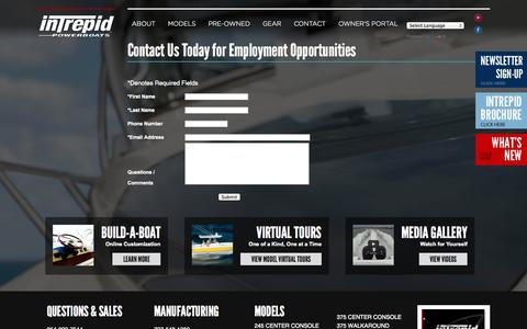 Screenshot of Jobs Page intrepidboats.com - Employment Opportunities - captured Oct. 6, 2014