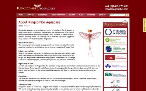 Screenshot of About Page kingcombe.com - About Kingcombe Aquacare Specialists in Water Management, Water Engineering and Maintenance for Landscapes, Fisheries, Leisure and Conservation - captured Oct. 6, 2014
