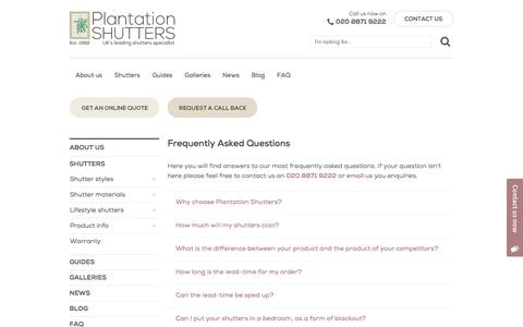 Screenshot of FAQ Page plantation-shutters.co.uk - Frequently Asked Questions | Plantation Shutters - captured Aug. 9, 2017