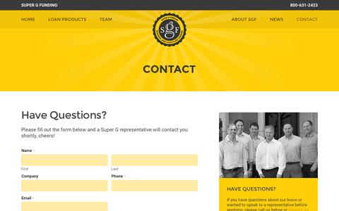 Screenshot of Contact Page supergfunding.com - Contact - Super G Funding - captured Jan. 5, 2016