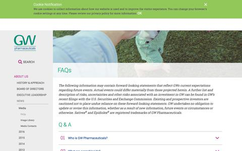 Screenshot of FAQ Page gwpharm.com - FAQs | GW Pharmaceuticals, plc - captured March 20, 2018