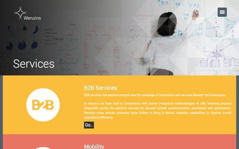 Screenshot of Services Page wenzins.com - Wenzins - Services - captured Feb. 27, 2016