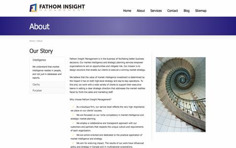 Screenshot of About Page fathominsight.com - Our vision for market intelligence and strategic planning | FATHOM INSIGHT MANAGEMENT - captured Oct. 5, 2014