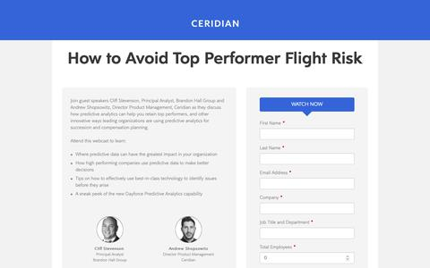 Screenshot of Landing Page ceridian.com - Ceridian Webcast - captured Sept. 28, 2018