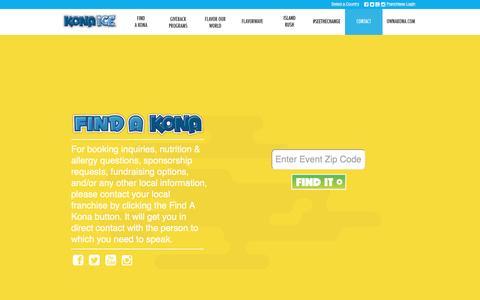 Screenshot of Contact Page kona-ice.com - Contact Kona Ice - captured May 3, 2017