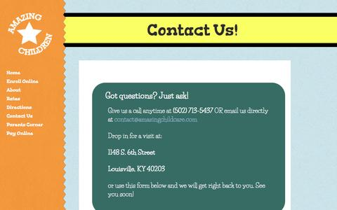 Screenshot of Contact Page amazingchildcare.com - Louisville Day Care - Amazing Children early education & learning - captured Oct. 2, 2014