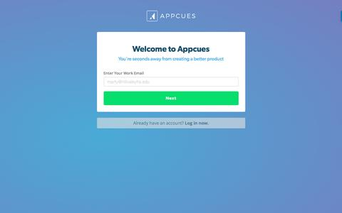 Screenshot of Signup Page appcues.com - Register Your Account   Appcues - captured March 2, 2017