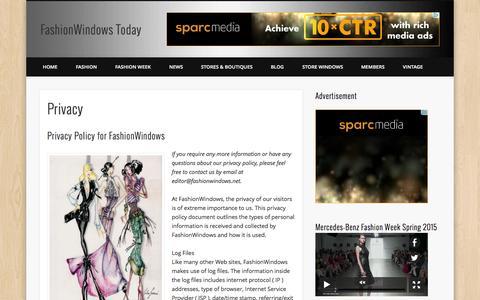 Screenshot of Privacy Page fashionwindows.com - Privacy - FashionWindows Today - captured Sept. 23, 2014