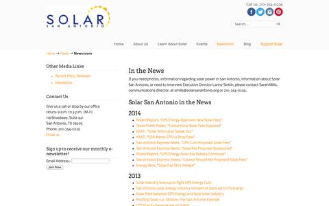 Screenshot of Press Page solarsanantonio.org - Newsroom | Solar San Antonio - Non-Profit 501(c)(3) - captured Oct. 26, 2014