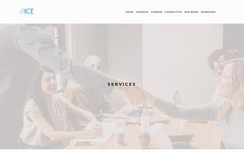 Screenshot of Services Page icesd.com - Services — INNOVATIVE COMMERCIAL ENVIRONMENTS - captured Jan. 11, 2019