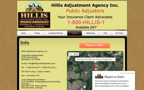 Screenshot of Contact Page hillis1.com - Hillis Adjustment Agency-Contact - captured Nov. 8, 2016