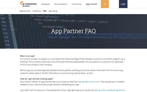Screenshot of FAQ Page e-conomic.com - App Partner FAQ | e-conomic - captured Jan. 3, 2017