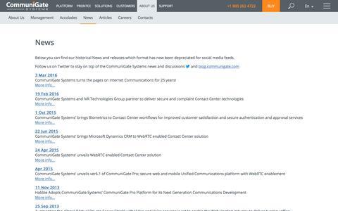 Screenshot of Press Page communigate.com - CommuniGate Pro - captured July 20, 2019