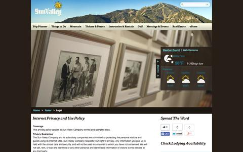Screenshot of Terms Page sunvalley.com - Sun Valley - Legal - captured Sept. 22, 2014