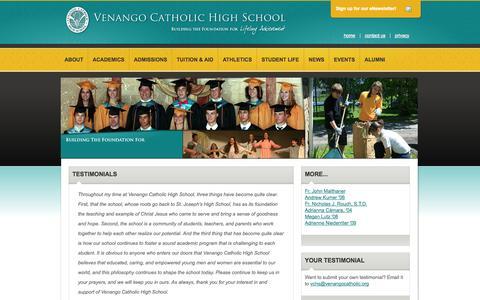Screenshot of Testimonials Page venangocatholic.org - Venango Catholic High School | About | Testimonials - captured Oct. 7, 2014
