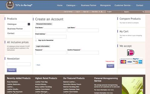 Screenshot of Signup Page e-tas.nl - Create New Customer Account - captured Sept. 30, 2014