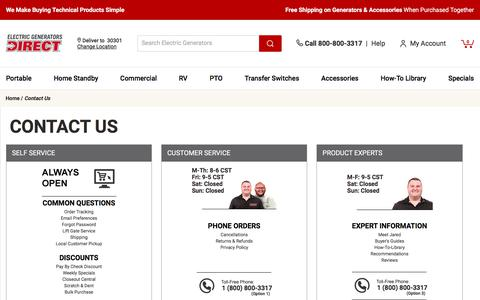 Screenshot of Contact Page electricgeneratorsdirect.com - Contact Us @ Electric Generators Direct.com - Your Online Electric Generator Superstore - Learn More about How to Contact Us - captured Feb. 22, 2020