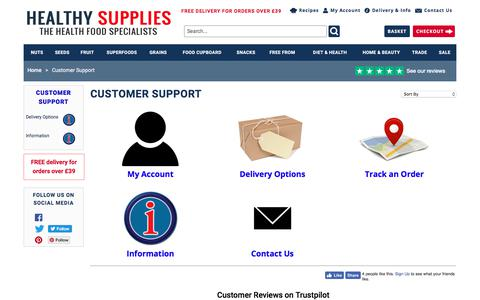 Screenshot of Support Page healthysupplies.co.uk - Customer Support - HealthySupplies.co.uk. Buy Online. - captured July 18, 2018