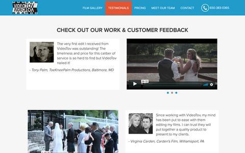 Screenshot of Testimonials Page videotov.com - Video Editing Service for Wedding Videographers -   Testimonials - captured Oct. 20, 2018