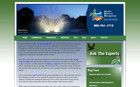 Screenshot of Home Page lakemanagementbyarm.com - Lake Pond Management   Lake Management  Virginia, North Carolina, and Maryland | Aquatic Resource Management - captured Oct. 4, 2014