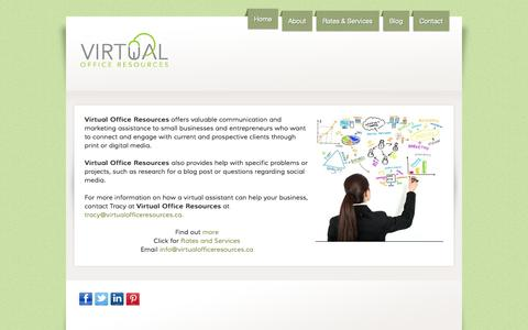 Screenshot of Home Page virtualofficeresources.ca - Virtual Office Resources Virtual Assistant Services - captured Sept. 30, 2014