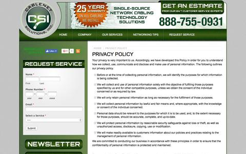 Screenshot of Privacy Page cablenetsolutions.com - Privacy Policy -  Telephone Wiring Orlando, FL - Florida Cabling Contractor - captured July 11, 2017