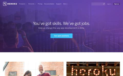 Screenshot of Jobs Page heroku.com - Careers at Heroku - captured Feb. 27, 2016