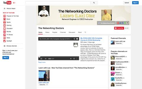 Screenshot of YouTube Page youtube.com - The Networking Doctors  - YouTube - captured Oct. 29, 2014