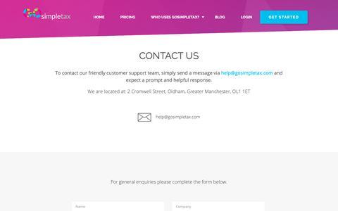 Screenshot of Contact Page gosimpletax.com - Contact us - GoSimpleTax - captured Oct. 18, 2018
