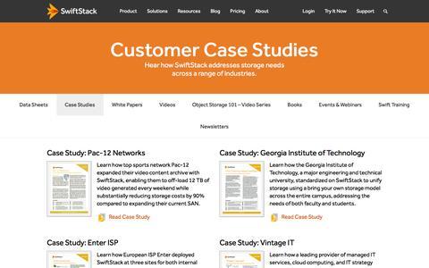 Screenshot of Case Studies Page swiftstack.com - Customer Case Studies   SwiftStack - captured Jan. 24, 2016