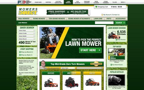 Screenshot of Home Page mowersdirect.com - Lawn Mowers Direct - Your Lawn Mower Superstore - captured Sept. 19, 2014