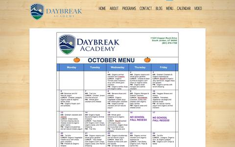 Screenshot of Menu Page daybreakacademy.com - MENU - captured Oct. 5, 2014
