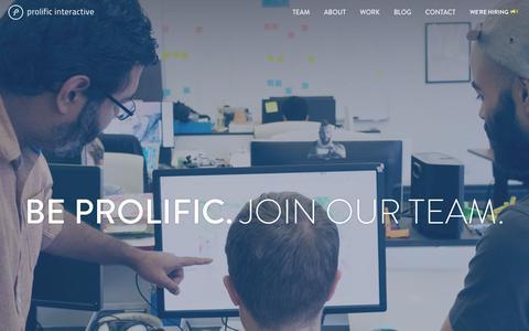 Screenshot of Jobs Page prolificinteractive.com - Prolific Interactive | Jobs - captured Nov. 7, 2015
