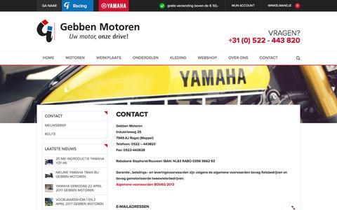Screenshot of Contact Page gebbenmotoren.nl - Contact - captured May 15, 2017