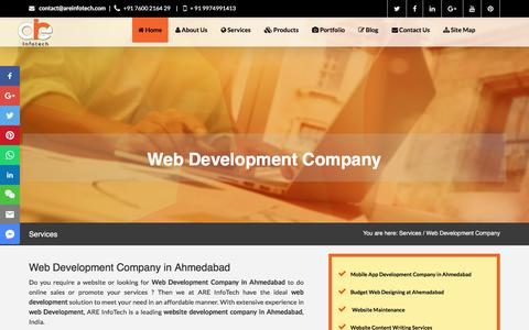 Screenshot of Services Page areinfotech.com - Web Development Company in Ahmedabad, Web Development in Ahmedabad, Web Development - captured July 28, 2018