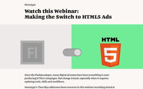 Screenshot of Landing Page monotype.com - Webinar: HTML5 Ads - captured Feb. 5, 2017