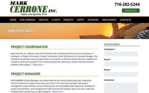 Screenshot of Jobs Page markcerrone.com - Job Postings - captured Oct. 17, 2017