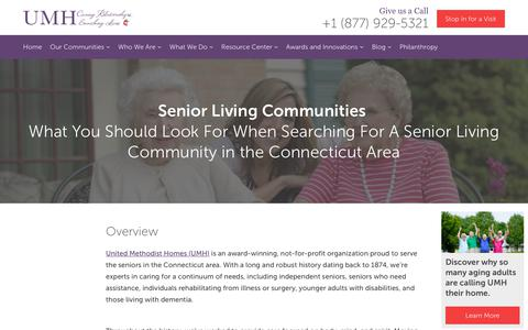 Screenshot of About Page umh.org - Senior Living Communities - captured Oct. 1, 2018