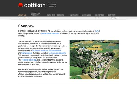 Screenshot of About Page dottikon.com - Dottikon Exclusive Synthesis - captured Feb. 9, 2016