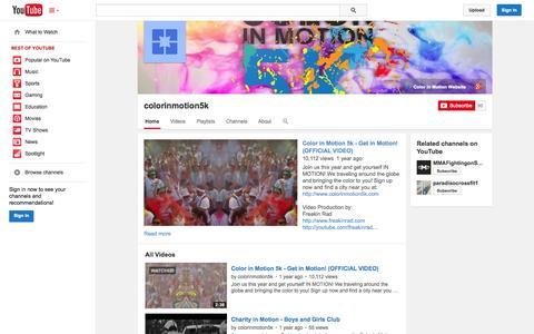 Screenshot of YouTube Page youtube.com - colorinmotion5k  - YouTube - captured Oct. 23, 2014