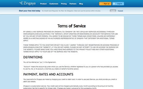 Screenshot of Terms Page zingaya.com - Terms of Service - captured Sept. 17, 2014