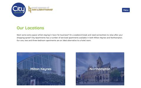 Screenshot of Locations Page cityapt.co.uk - Serviced Apartments in Milton Keynes & Northampton | City Apartments - captured Sept. 28, 2018