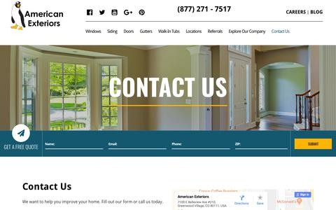 Screenshot of Contact Page amext.com - Contact Us | American Exteriors - captured Oct. 3, 2018