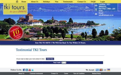Screenshot of Testimonials Page tkitours.com - TKI Tours - captured Oct. 7, 2014