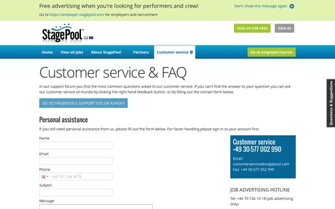 Screenshot of Contact Page Support Page stagepool.com - Customer service & FAQ - captured Dec. 3, 2016